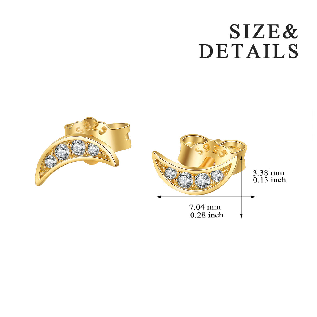 Handmade Awesome 14k Gold Plating Moon Stud Earrings