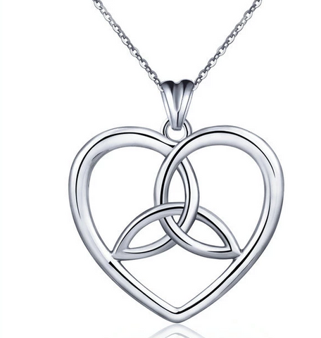 Heart Shaped S925 Sterling Silver Pendant Celtic Trinity Knot Necklace Pendant Item Jewelry