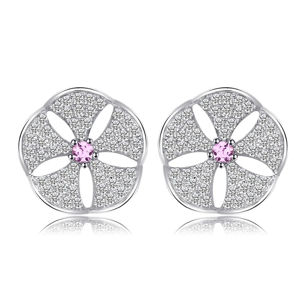 Flowers Created Pink Sapphire Cubic Zirconia Stud Earrings