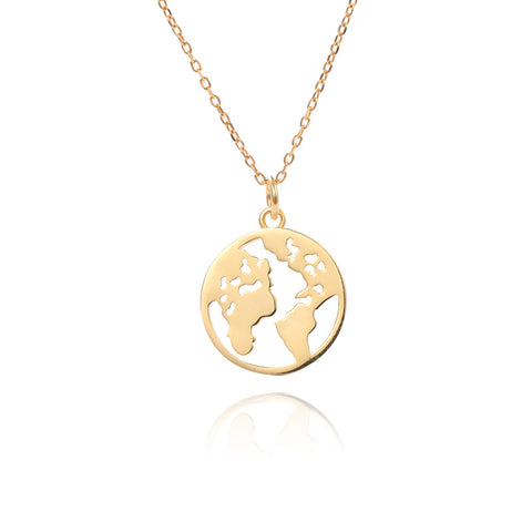 925 Sterling Silver Necklace 14K Gold Pendant World Map