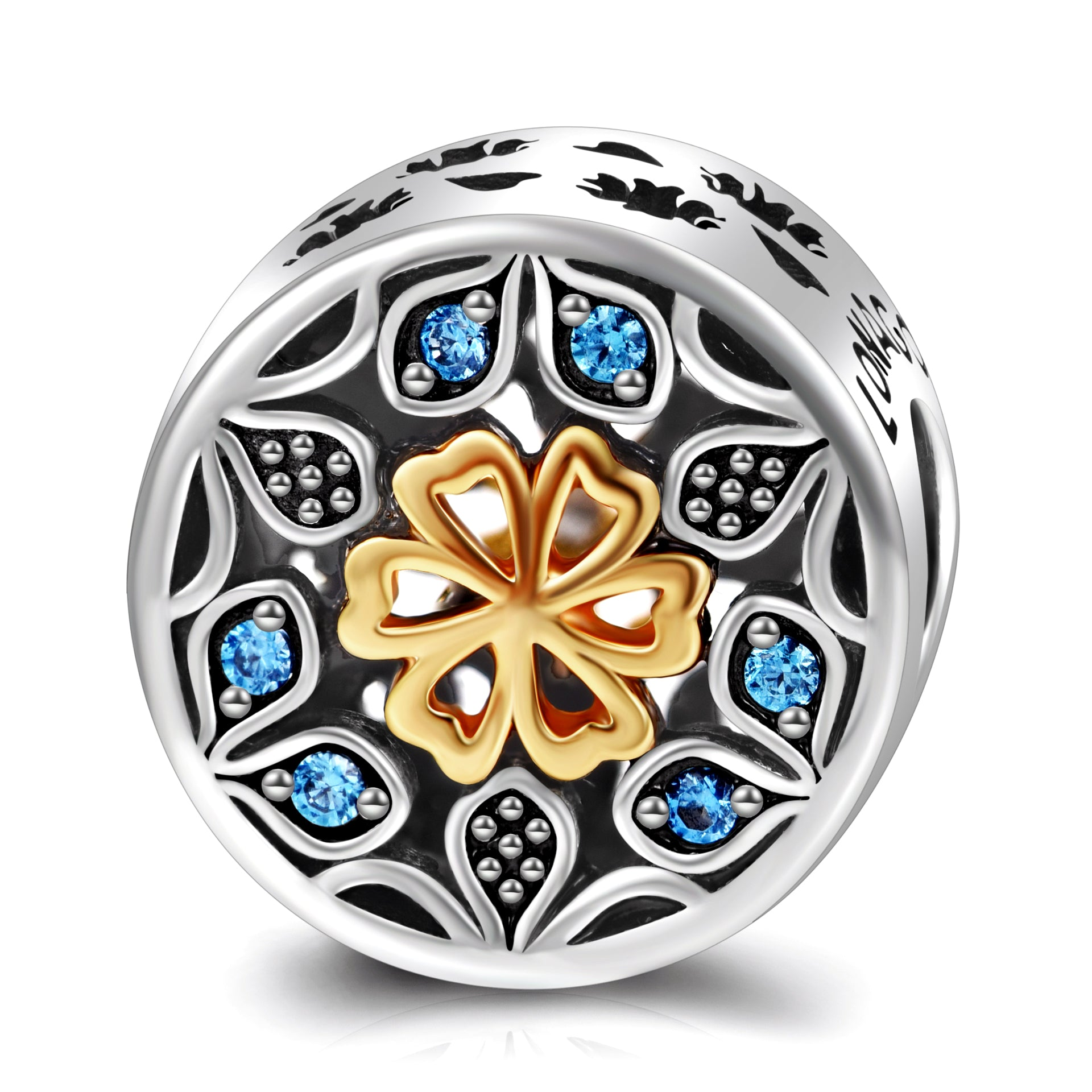 Round Beads 925 Sterling Silver Flower Shape With Colorful Zirconia Beads