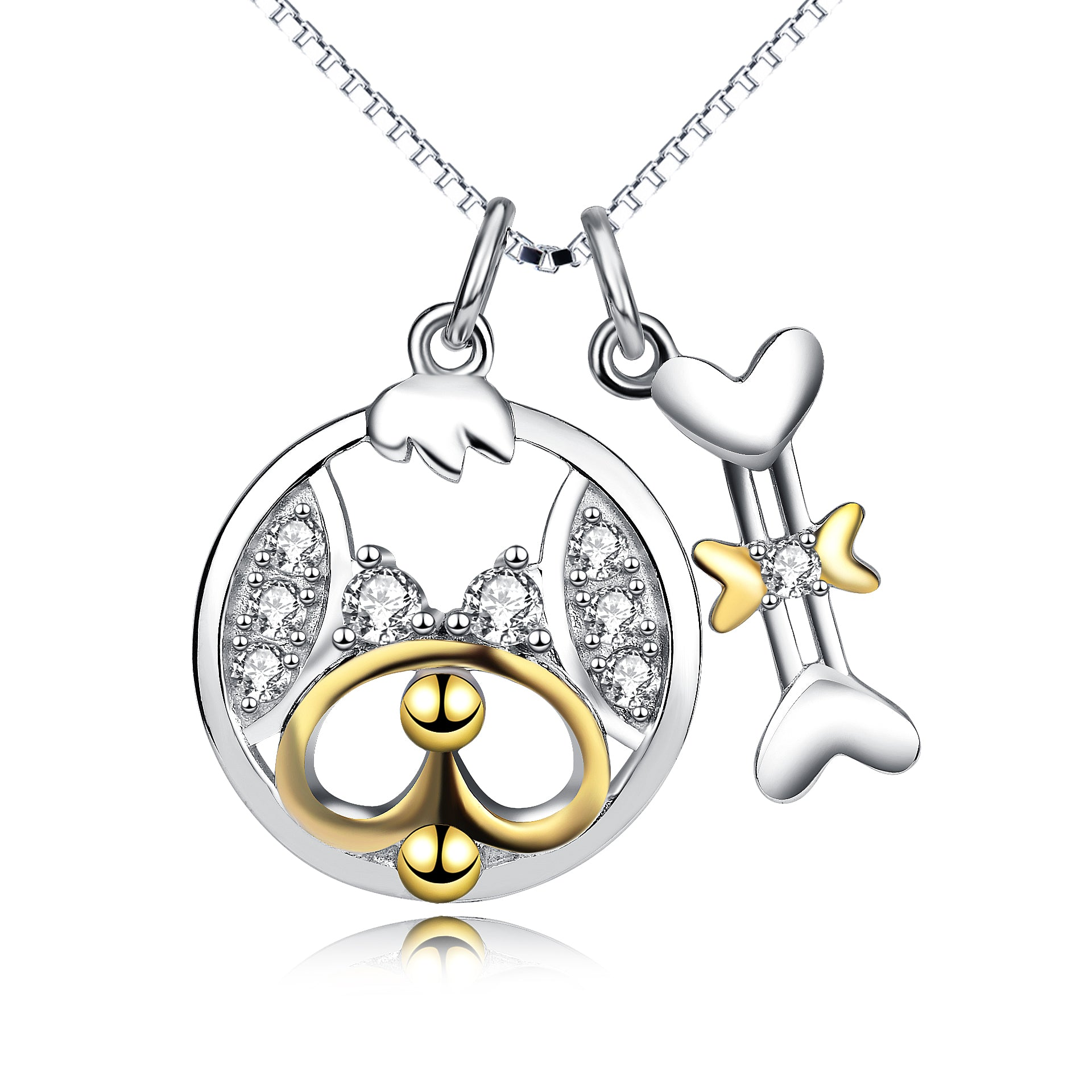 Dog and Bone Necklace With Full Zirconia Silver Necklace for women