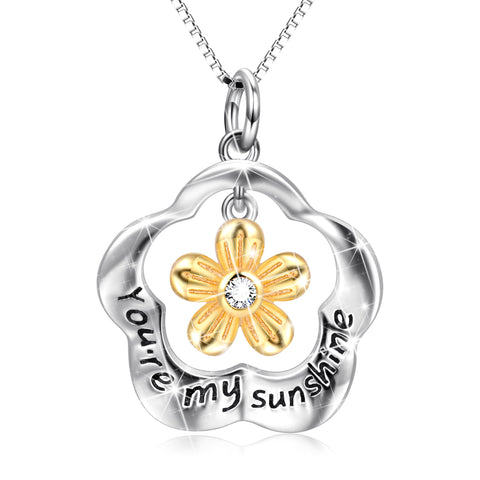 You are my sunshine necklace silver flower design necklace 2019