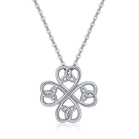 Four-leaf clover heart pendant S925 sterling silver Celtic knot clavicle necklace jewelry