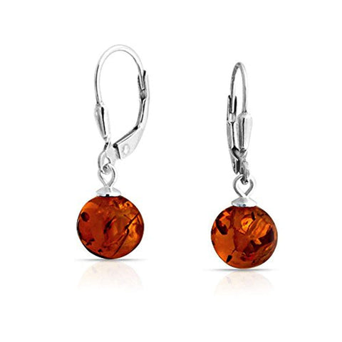 Simple Honey Amber Round Leverback Drop Ball Earrings For Women 925 Sterling Silver