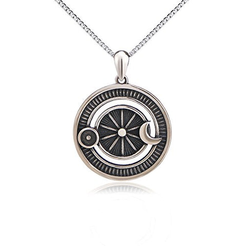 Pure 925 Sterling Silver Jewelry Oxidized Vintage Sun and Moon Pendant Necklace With 18inch Box Chain
