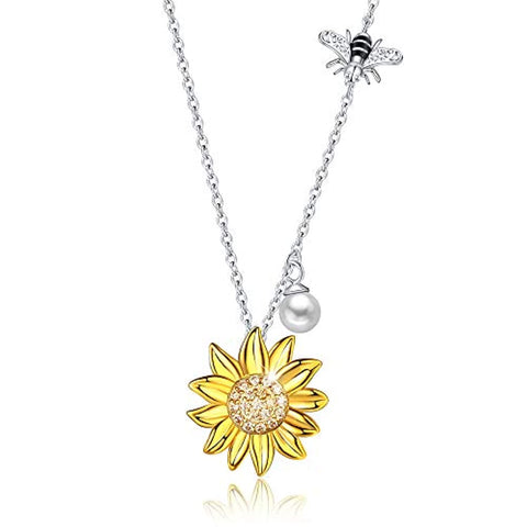 Silver Sunflower bee pearl Pendant Necklaces