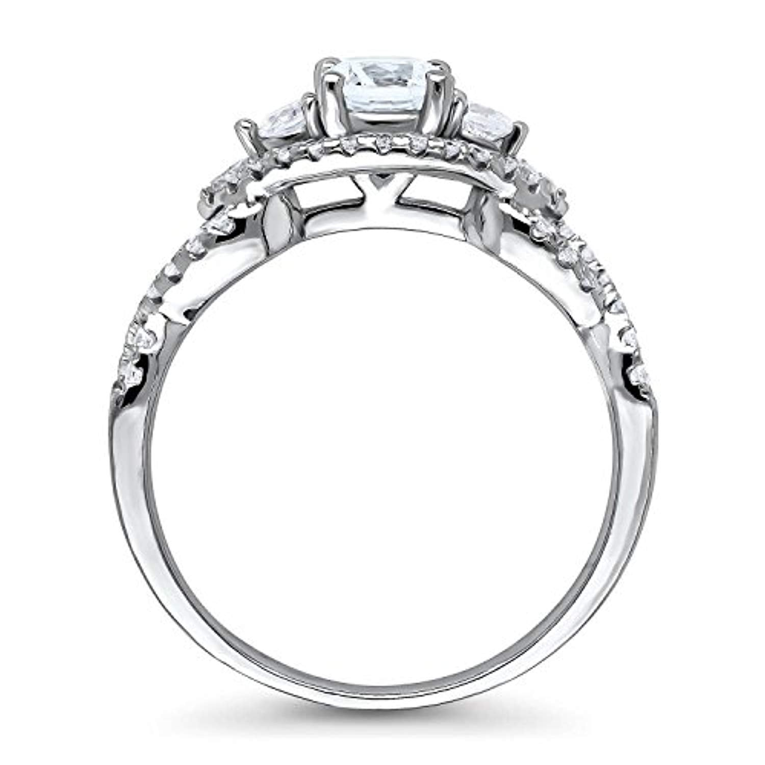 Rhodium Plated Sterling Silver 3-Stone Woven Promise Engagement Ring Made with Swarovski Zirconia Round