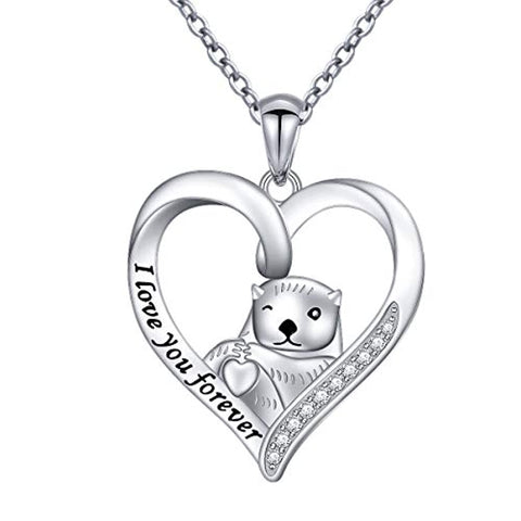 Sea Otter Heart Pendant Necklace