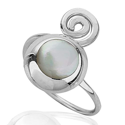 925 Sterling Silver Round Mother of Pearl Adjustable Swirl Ring