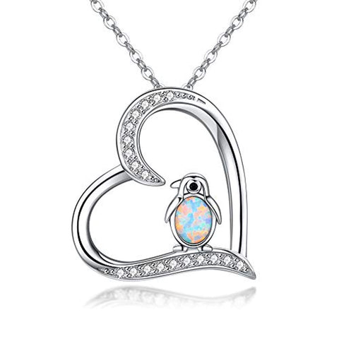 925 Sterling Silver Penguin Pendant Necklace Cute Animal Necklaces for Women Gifts