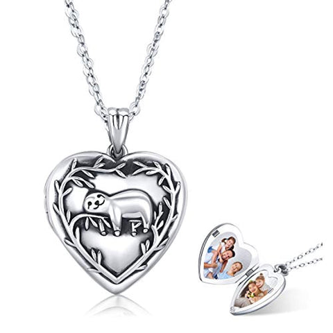 Silver Sloth Photo Locket Heart Pendants Necklace