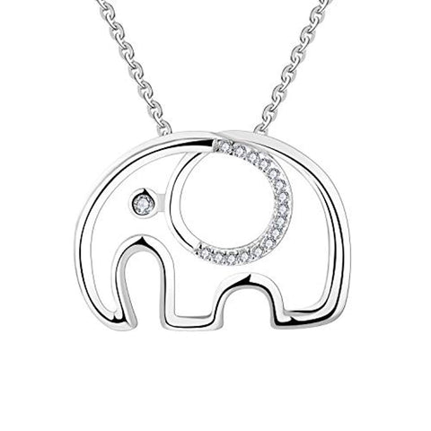 925 Sterling Silver Cubic Zirconia Elephant Pendant Necklace