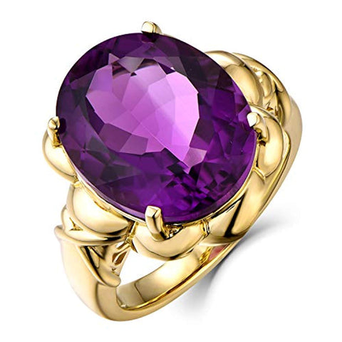 14K Yellow Gold 10ct Big Oval Shape Natural Amethyst Purple Solitaire Engagement Ring