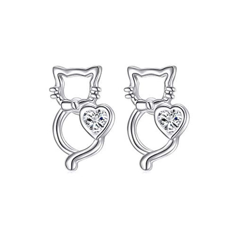 Small Cute Cat Stud Earrings
