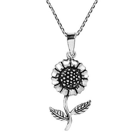 Charming Spring Sunflower 925 Sterling Silver Pendant Necklace