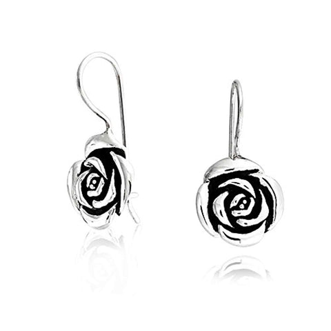 Rose Flower Drop Earrings French Wire For Women Black Antiqued Oxidized 925 Sterling Silver