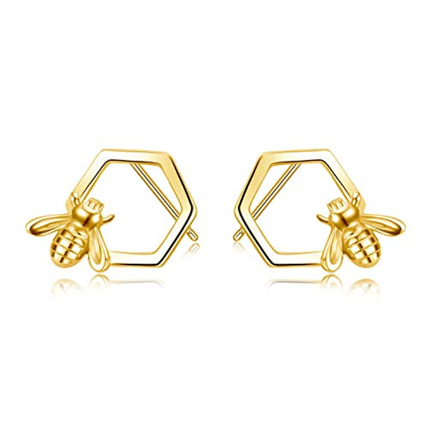 Honeycomb with Bee Stud Earrings