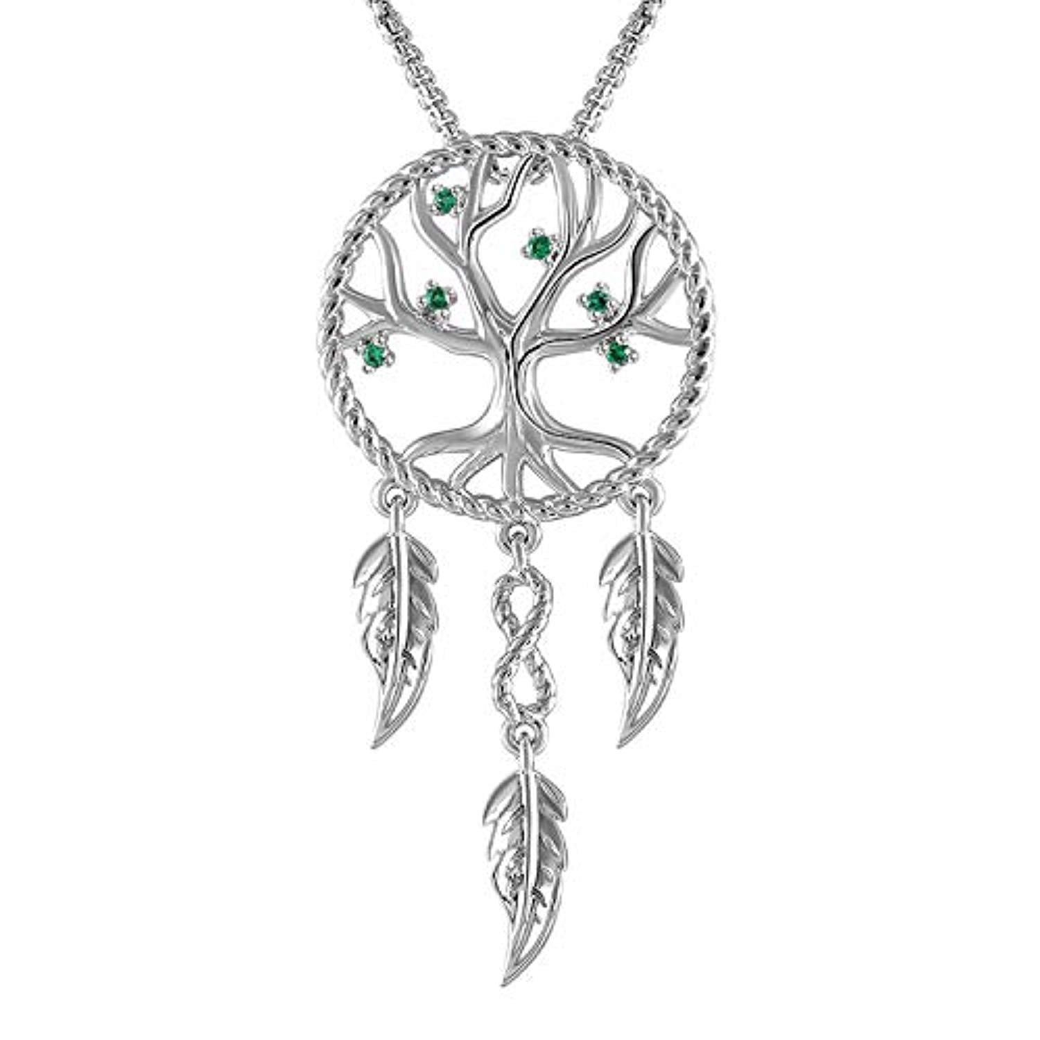 Family Tree of Life Pendant Necklace, Dream Catcher Net Necklace with August Birthstone Jewelry Birthday Gifts for Women Teens