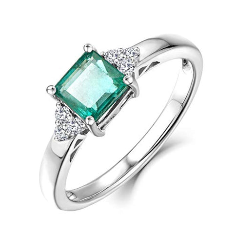 14K White Gold 1ct Genuine Diamond Natural Green Emerald Engagement Ring