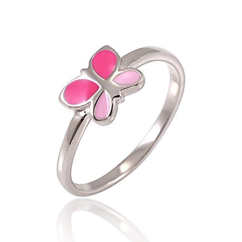 925 Sterling Silver Fuchsia Pink Enamel Little Butterfly Ring Children Jewelry