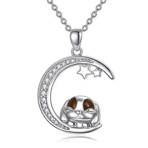 Silver Bunny lies on the moon and star Necklace