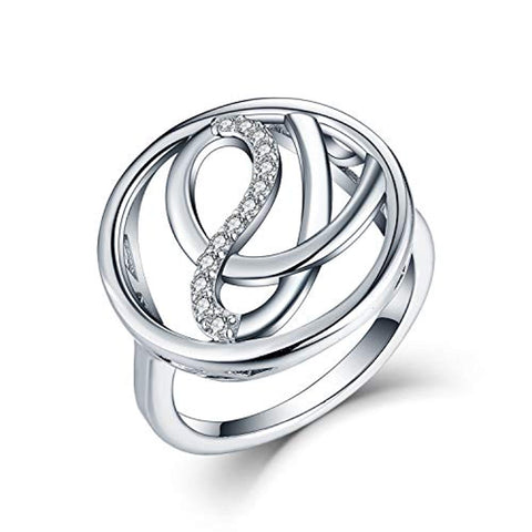 925 Sterling Silver Cubic Zirconia Love Celtic Knot Ring