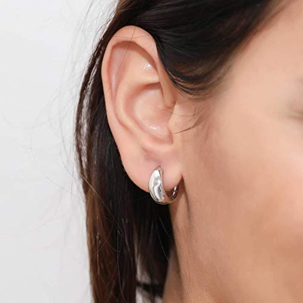 Rhodium Plated Sterling Silver Dome Small Fashion Hoop Huggie Earrings