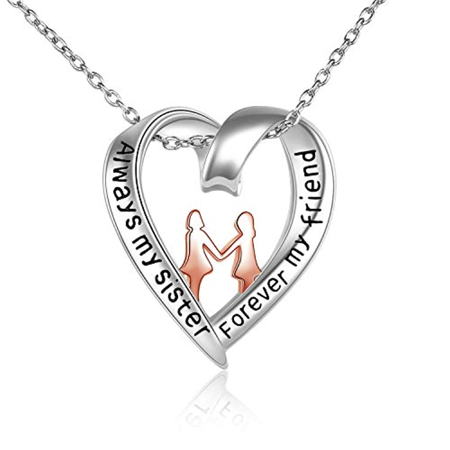 Silver Heart Sister Necklace