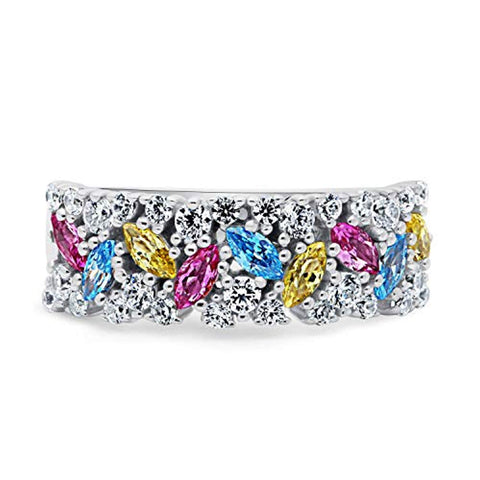 Rhodium Plated Sterling Silver Multi Color Cubic Zirconia CZ Cluster Art Deco Cocktail Fashion Right Hand Ring