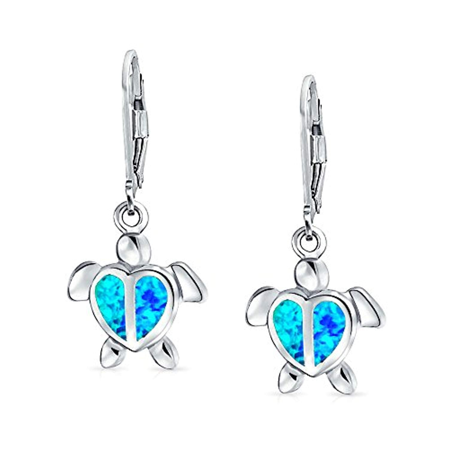 Blue Created Opal Nautical Sea Life Ocean Sea Heart Turtle Drop Leverback Earrings For Women For Teen Sterling Silver