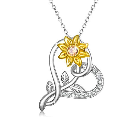 925 Sterling Silver Sunflower Pendant Necklace Sunshine Necklace Jewelry for Women