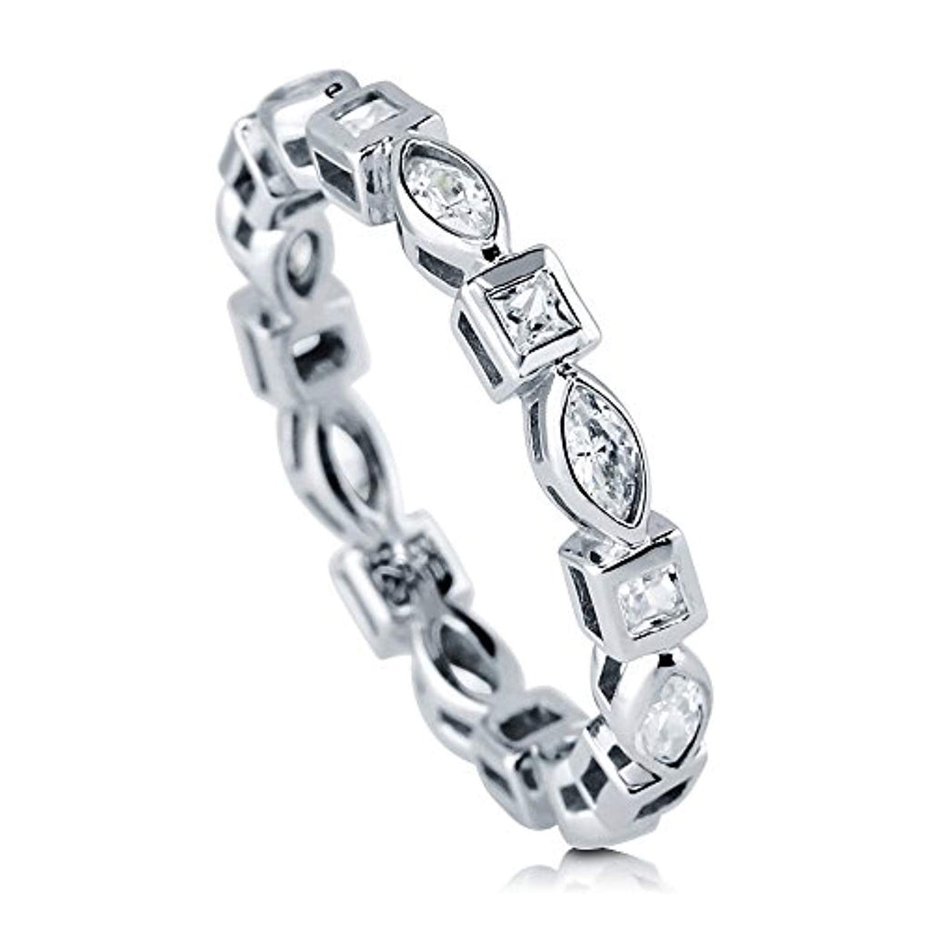 Sterling Silver 1.6 ct.tw Marquise Cubic Zirconia CZ Wedding Anniversary Eternity Band Ring