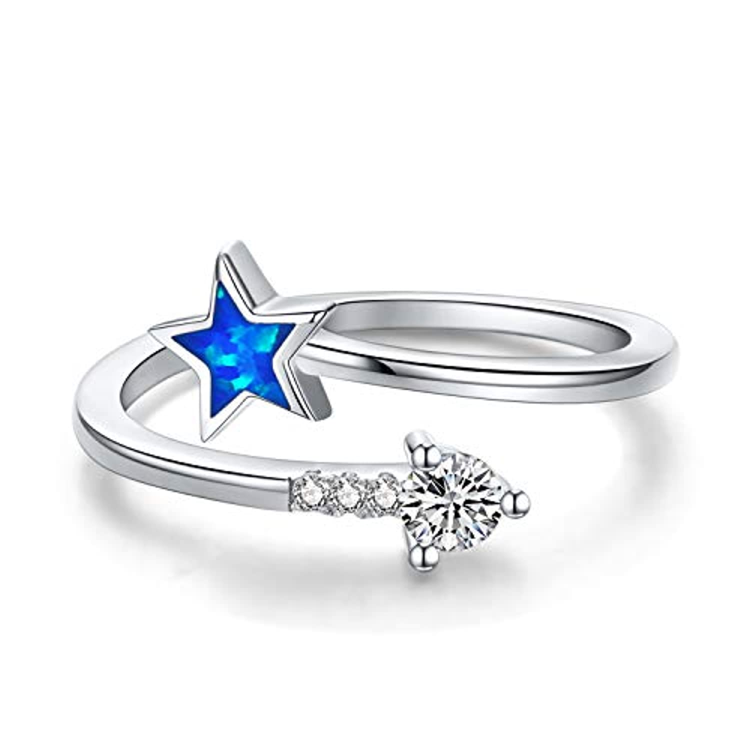 Silver Star Ring Open Opal Ring