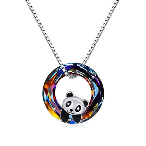 Silver Cute Animal with Crystal Pendant Necklace Panda Jewelry