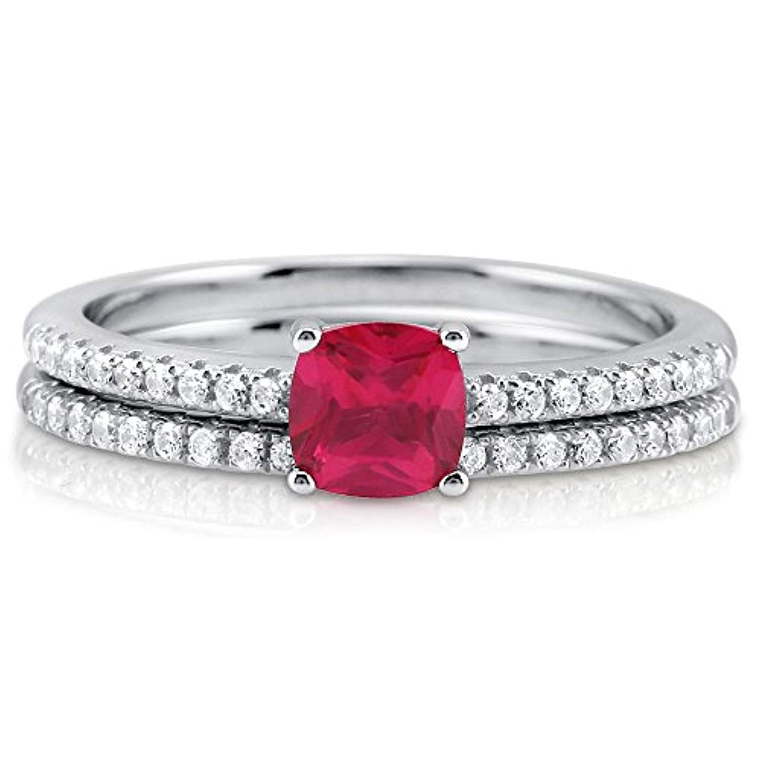 Rhodium Plated Sterling Silver Red Cushion Cut Cubic Zirconia CZ Solitaire Engagement Wedding Ring Set