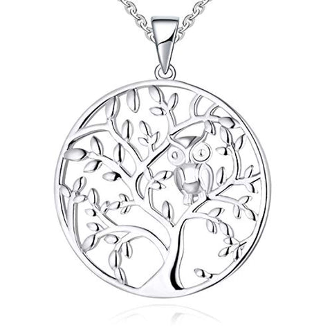 925 Sterling Silver Owl Tree of Life Pendant Necklace