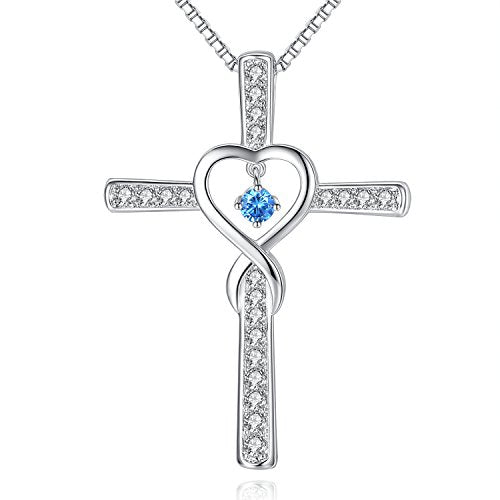 925 Sterling Silver Infinity Love God Cross CZ Pendant Necklace with Birthstone