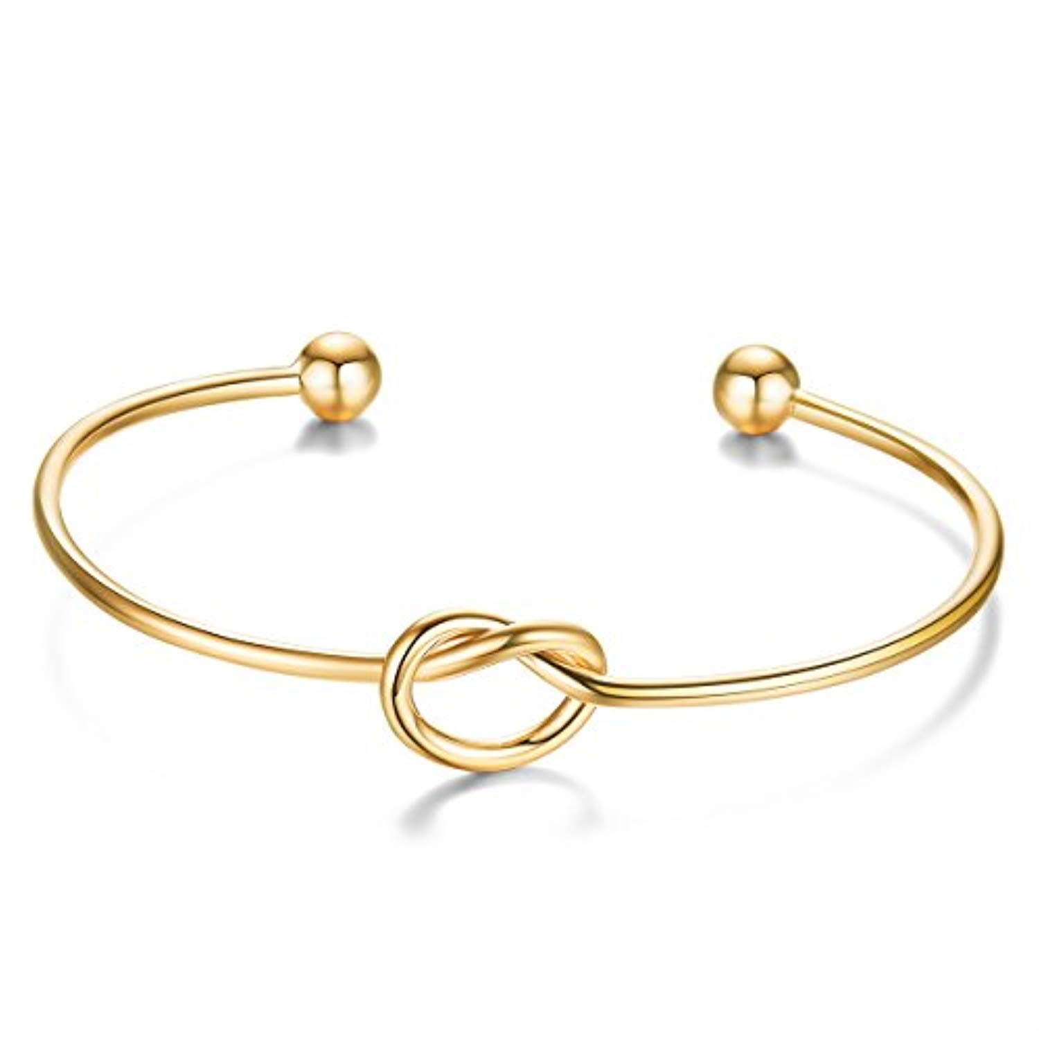 Simple Love Knot Bracelet Tie The Knot Cuff Bangle 925 Silver Bangle Bracelet for Women, Rose Gold