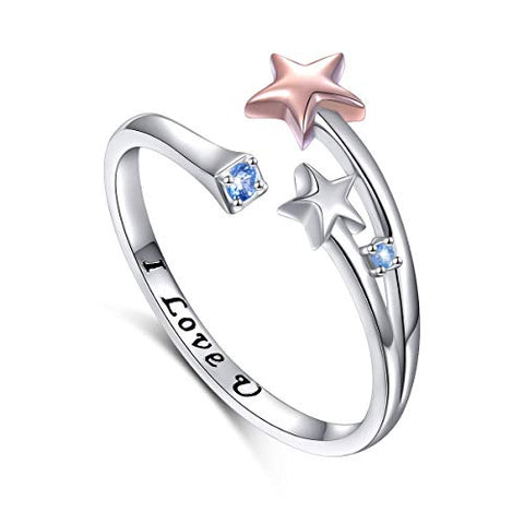 925 Sterling Silver Adjustable Rose Gold Plating Star Open Ring With Black Engrave I Love You