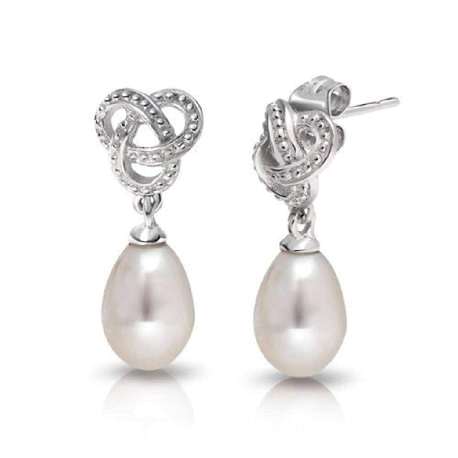 Bridal Love Knot White Simulated Pearl Teardrop Dangle Earrings For Women For Prom 925 Sterling Silver