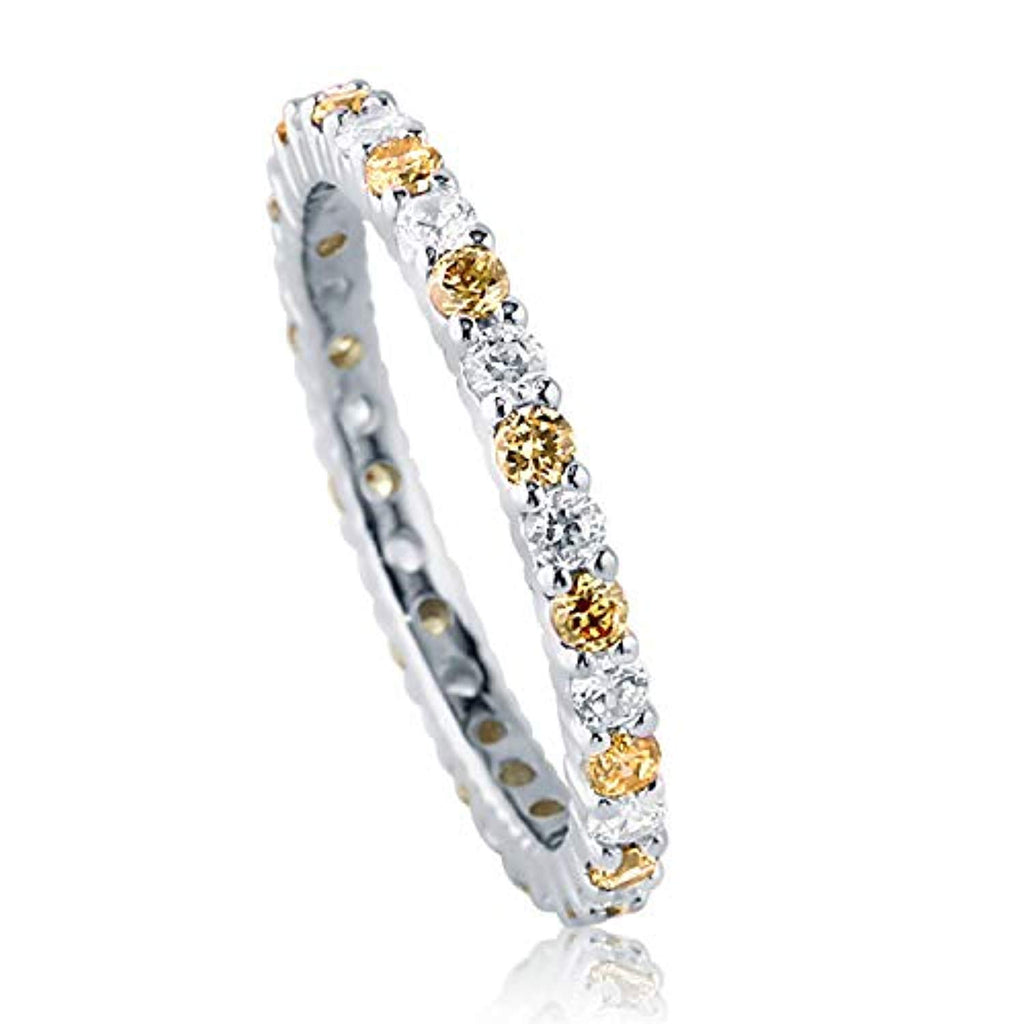 Rhodium Plated Sterling Silver Canary Yellow Cubic Zirconia CZ Stackable Anniversary Fashion Right Hand Eternity Band Ring