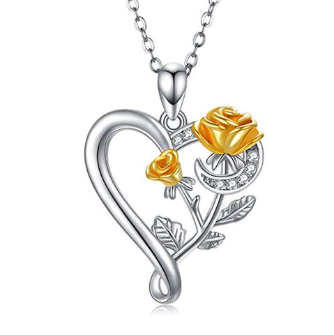 Silver Rose Heart Necklaces