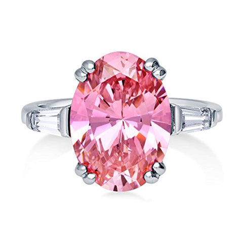 Rhodium Plated Sterling Silver Pink Oval Cut Cubic Zirconia CZ Statement 3-Stone Anniversary Engagement Ring