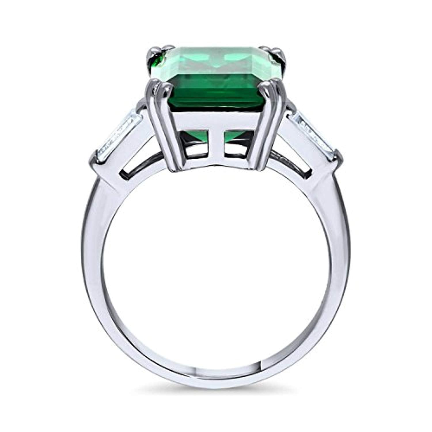 Rhodium Plated Sterling Silver Emerald Cut Cubic Zirconia CZ Statement Solitaire Cocktail Fashion Right Hand Ring