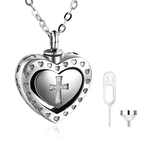 Silver Cross Cremation Urn Necklace