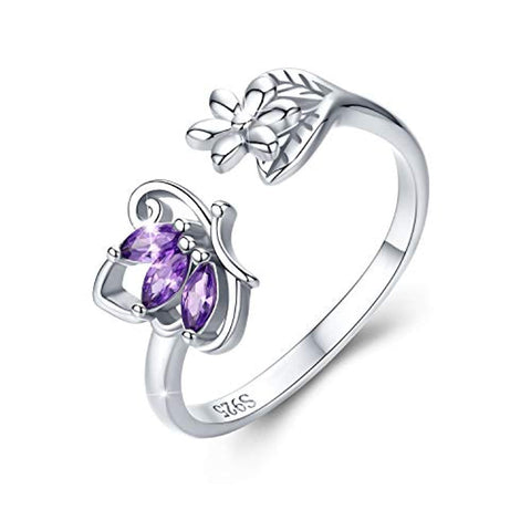 Rings for Women Butterfly Flower Rings 925 Sterling Silver Purple CZ Wrap Open Adjustable Finger Ring 5 6 7 8 9 Gifts for Women Girls