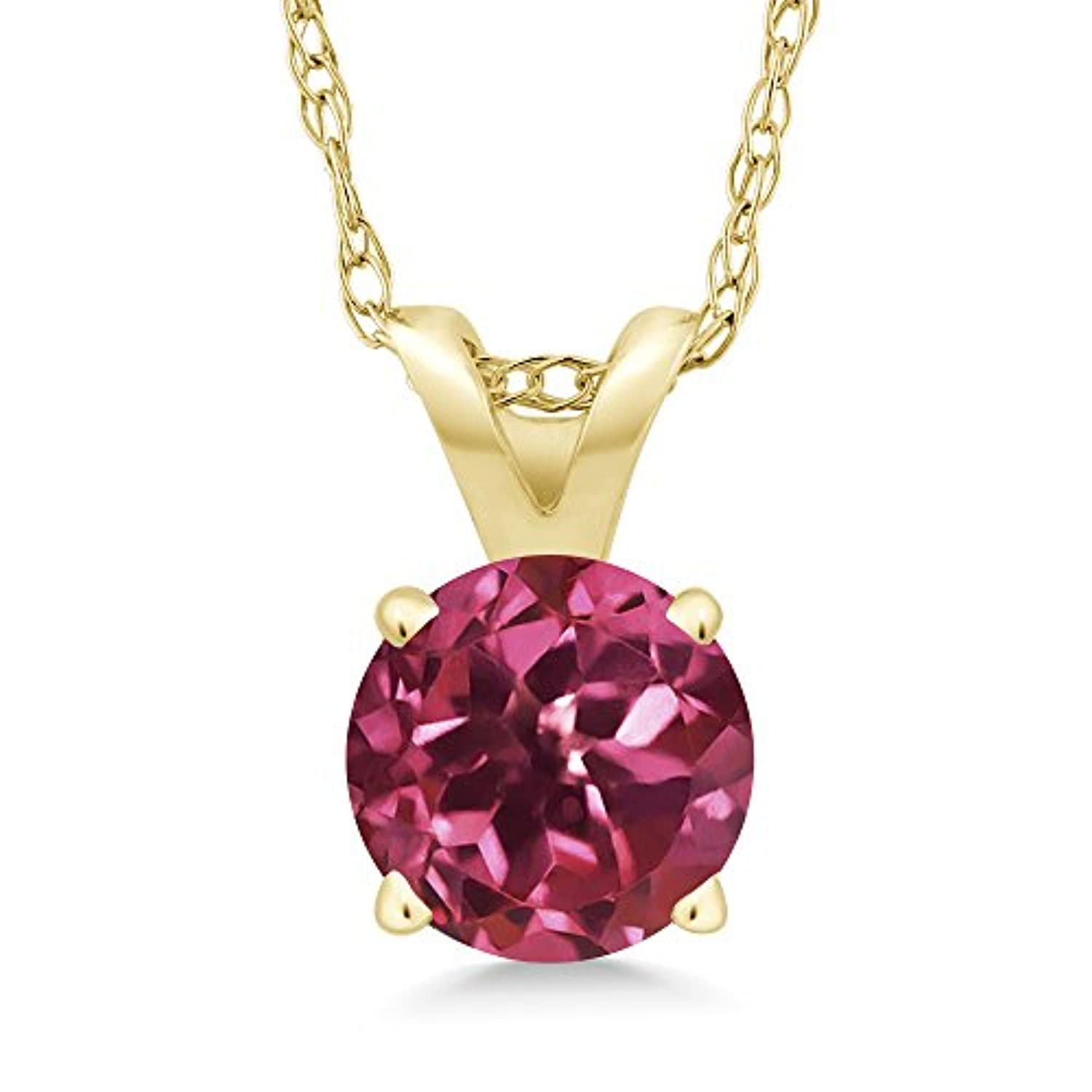 14K Gold Pink Tourmaline Pendant Necklace