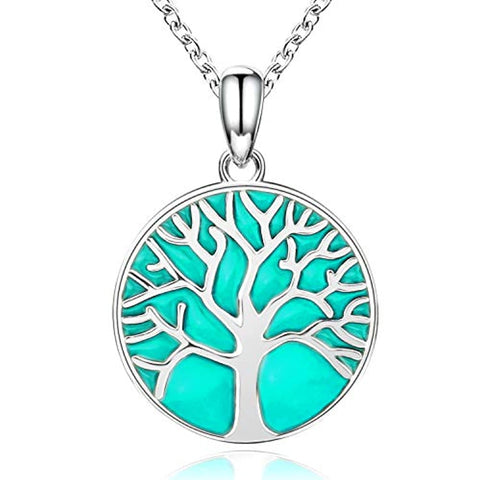 925 Sterling Silver Family Tree Of Life Pendant Necklace Glowing Tree Jewelry Gift For Women
