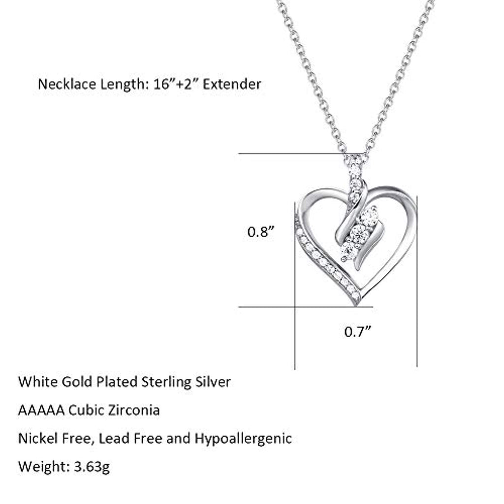 925 Sterling Silver Infinity Love Heart Pendant Necklace Cubic Zirconia CZ Fine Jewelry Gifts for Women Girls Mom Her with Gorgeous Jewelry